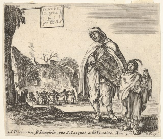 Plate 1: a man sings and plays the hurdy gurdy, accompanied by a boy playing the triangle to right, a group of peasants dancing in a ring to left in background, title page for 'Diversi capricci'
