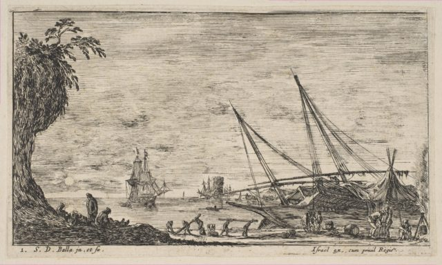 Plate 1: seaport with ships, from 'Seascapes' (Paysages maritimes)