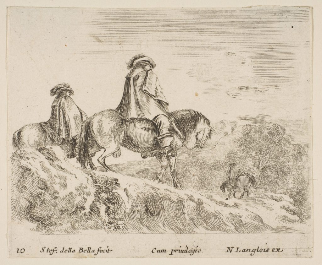 Plate 10: two horsemen descending a mountain at left, another horseman to right in background, from 'Diversi capricci'