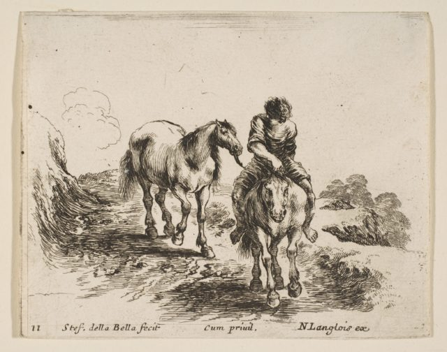 Plate 11: a young horseman, seen from the front, leading another horse, from 'Diversi capricci'