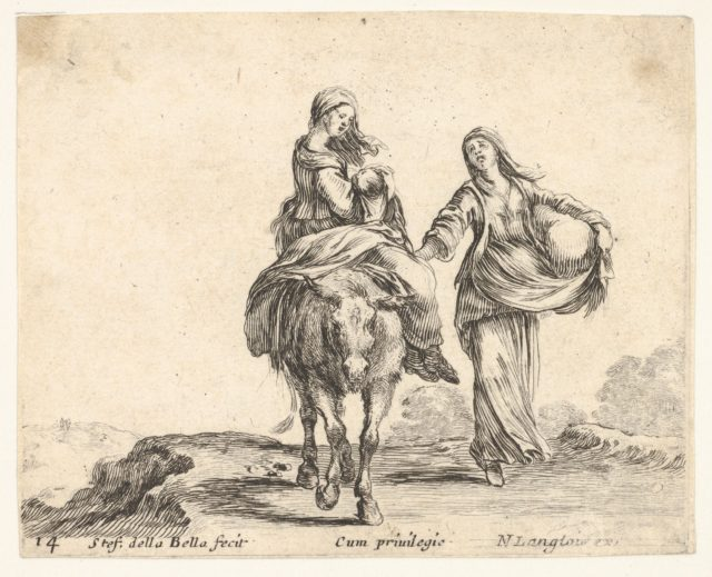 Plate 14: a young peasant woman and her child sitting side saddle atop a horse in center, another peasant woman to right, holding a large bag in her left arm, from 'Diversi capricci'