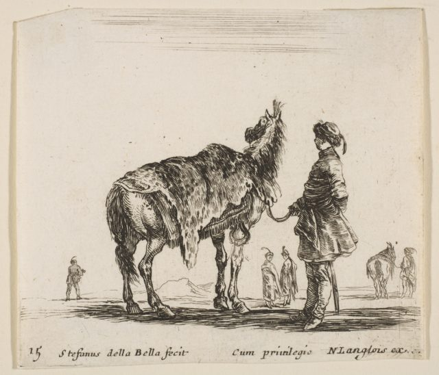 Plate 15: a Polish nobleman, facing away, holding his horse covered in leopard skin, four men and a horse in background, from 'Diversi capricci'