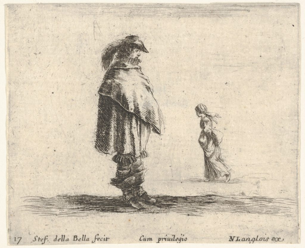 Plate 17: a man wearing a plumed hat in center facing right, a woman walking towards the left in the background, from 'Diversi capricci'