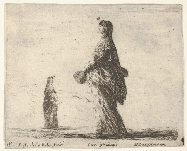 Plate 18: a noblewoman walking towards the left with a feathered fan, another woman in background to left, from 'Diversi capricci'