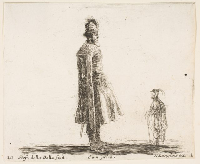 Plate 20: an old Polish nobleman wearing a plumed hat in center, standing in profile facing right, another Polish man to right in background, standing in profile facing left, from 'Diversi capricci'