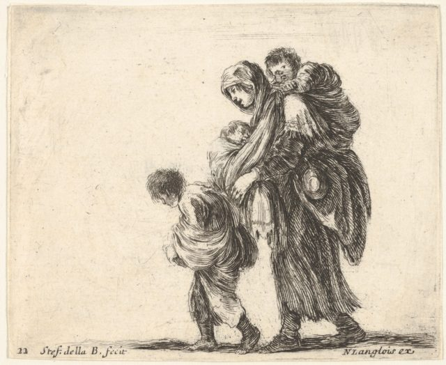 Plate 22: a beggar woman with three children, one child on her shoulders, one child in her arms, and one child who walks in front of her to left, from 'Diversi capricci'