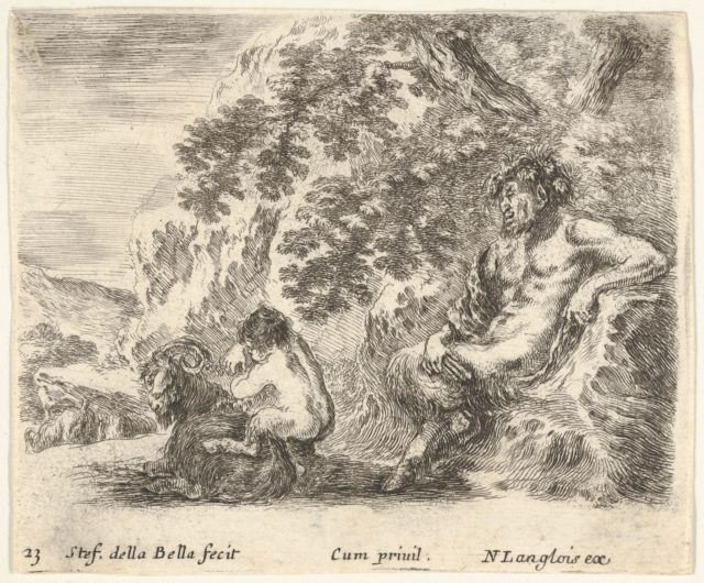 Plate 23: a satyr sitting against a tree to right and holding a flute in his right hand, a child playing with a goat to left, from 'Diversi capricci'