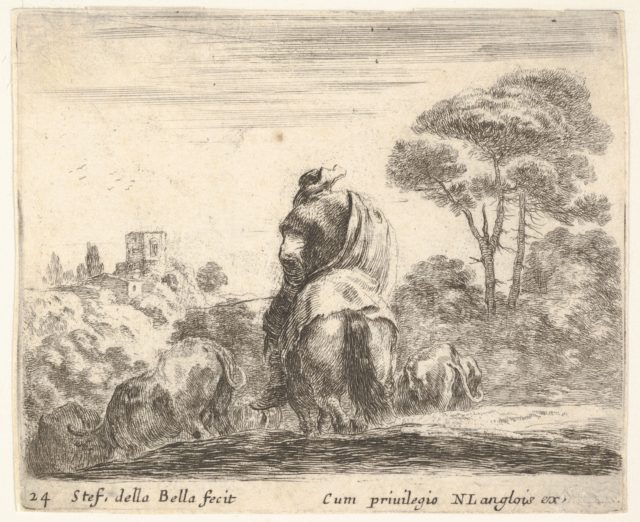 Plate 24: herdsman atop a horse, seen from behind, leads his cattle down a hill, a tower on a hill to left in the background, from 'Diversi capricci'