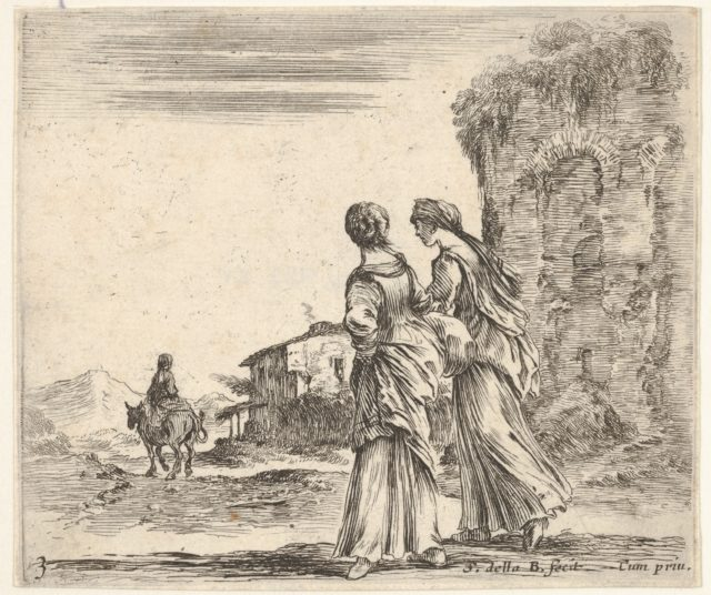 Plate 3: two girls walking towards the left, seen from behind, a woman on a horse to left in background, from 'Diversi capricci'