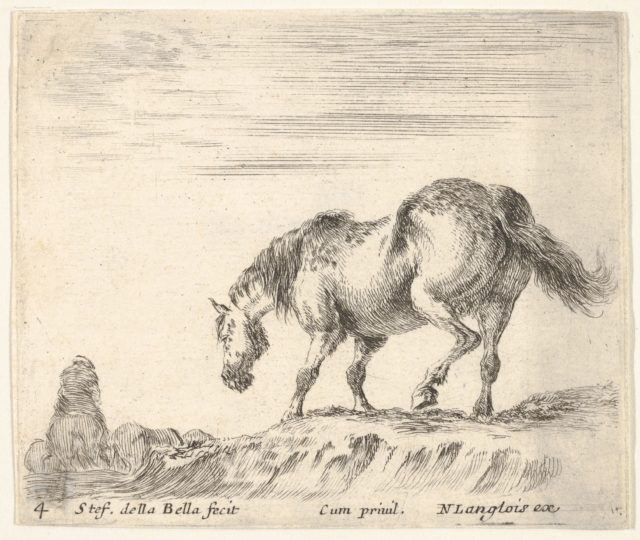 Plate 4: a horse in profile facing the left, about to descend from a mound, a horseman to left in background, from 'Diversi capricci'