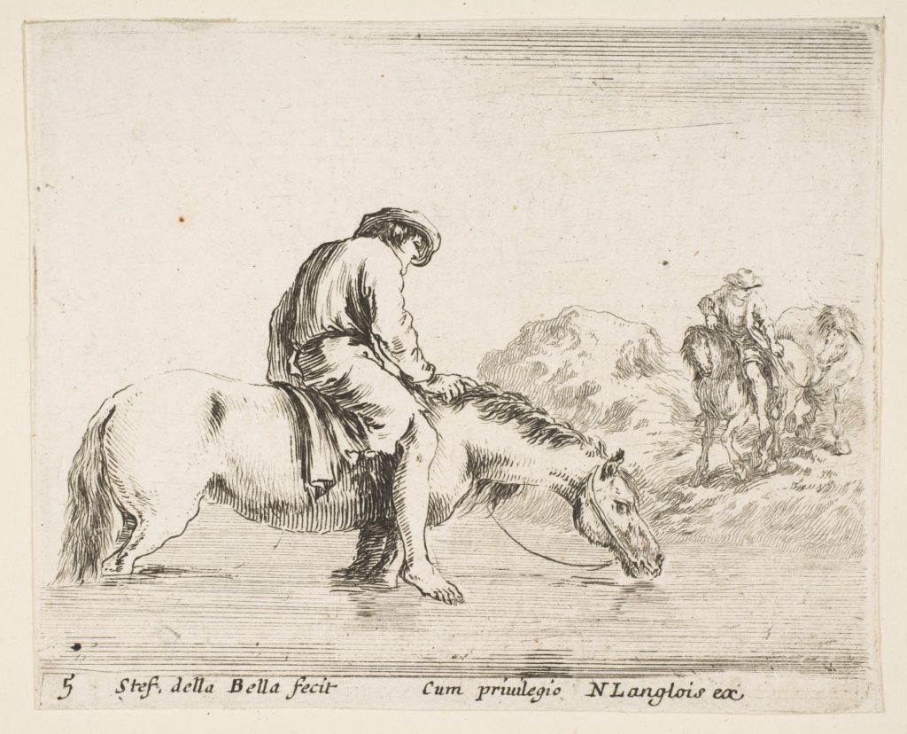 Plate 5: a barefoot peasant on horseback crossing a river, another peasant on horseback and leading a horse on a bank to right in the background, from 'Diversi capricci'