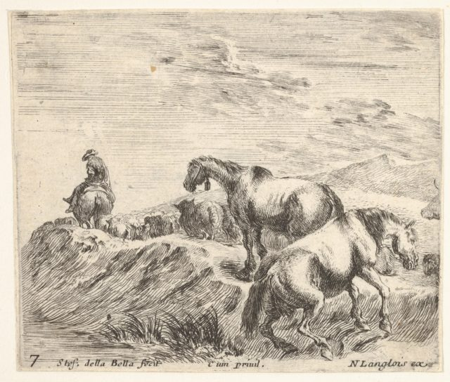 Plate 7: two horses ascending the bank of a river at right, following a procession of horses and one horseman to the left, from 'Diversi capricci'