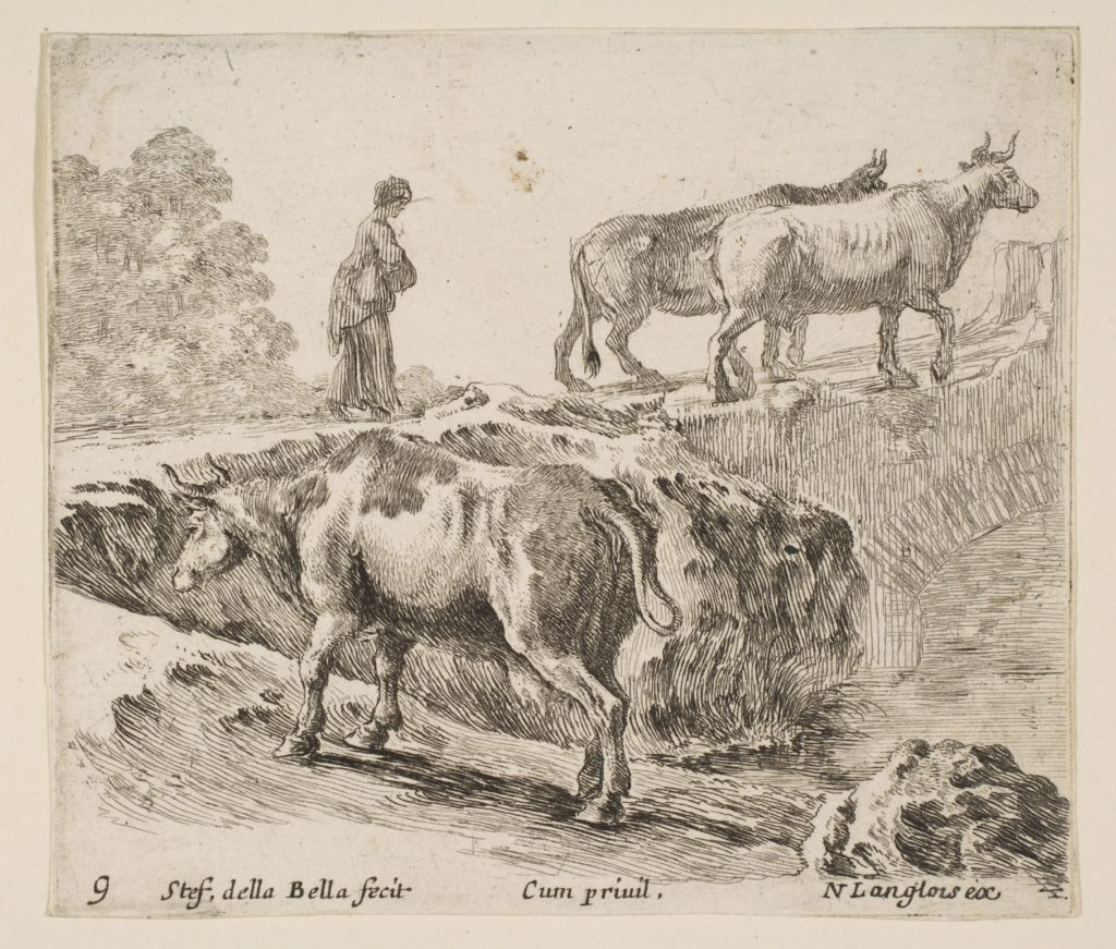 Plate 9: a cow ascending a bank, a peasant woman leading two cows across a bridge in background, from 'Diversi capricci'