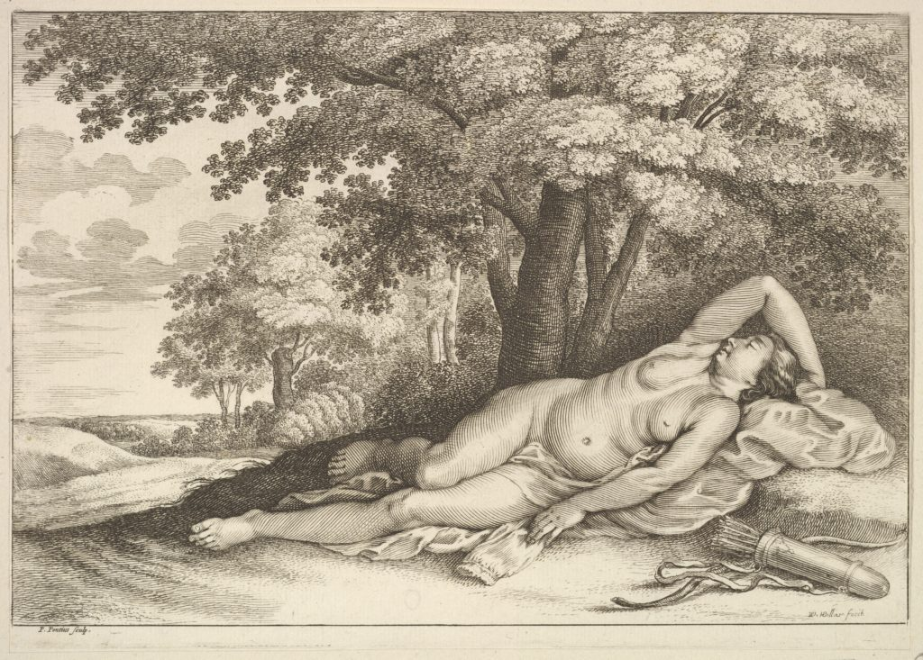 Sleeping figure of Diana the huntress