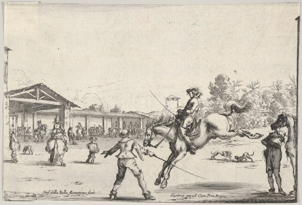A riding school, a horseman with sword jumping directed by another man with a sword in center, a man standing next to his horse to right, various horsemen, the school, and two dogs in the background, from 'Varie figure'