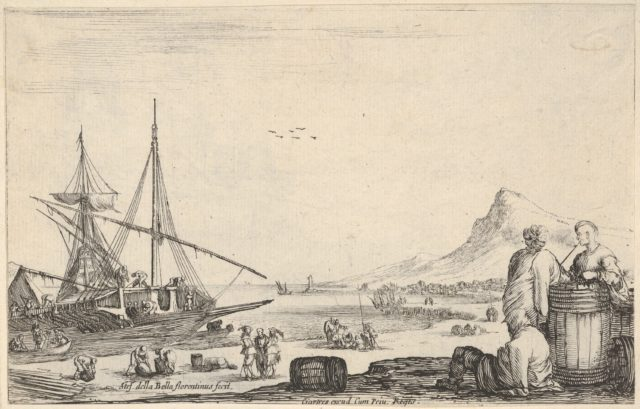 A ship disembarking to left, two galley slaves stand and one sits next to a barrel to right, various other figures on the shore, a mountain to right in the background, from 'Varie figure'