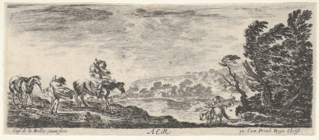 Air, a landscape during a hurricane, three horsemen battling the wind, a mass of trees to the right, from 'The four elements' (Les quatre Eléments)