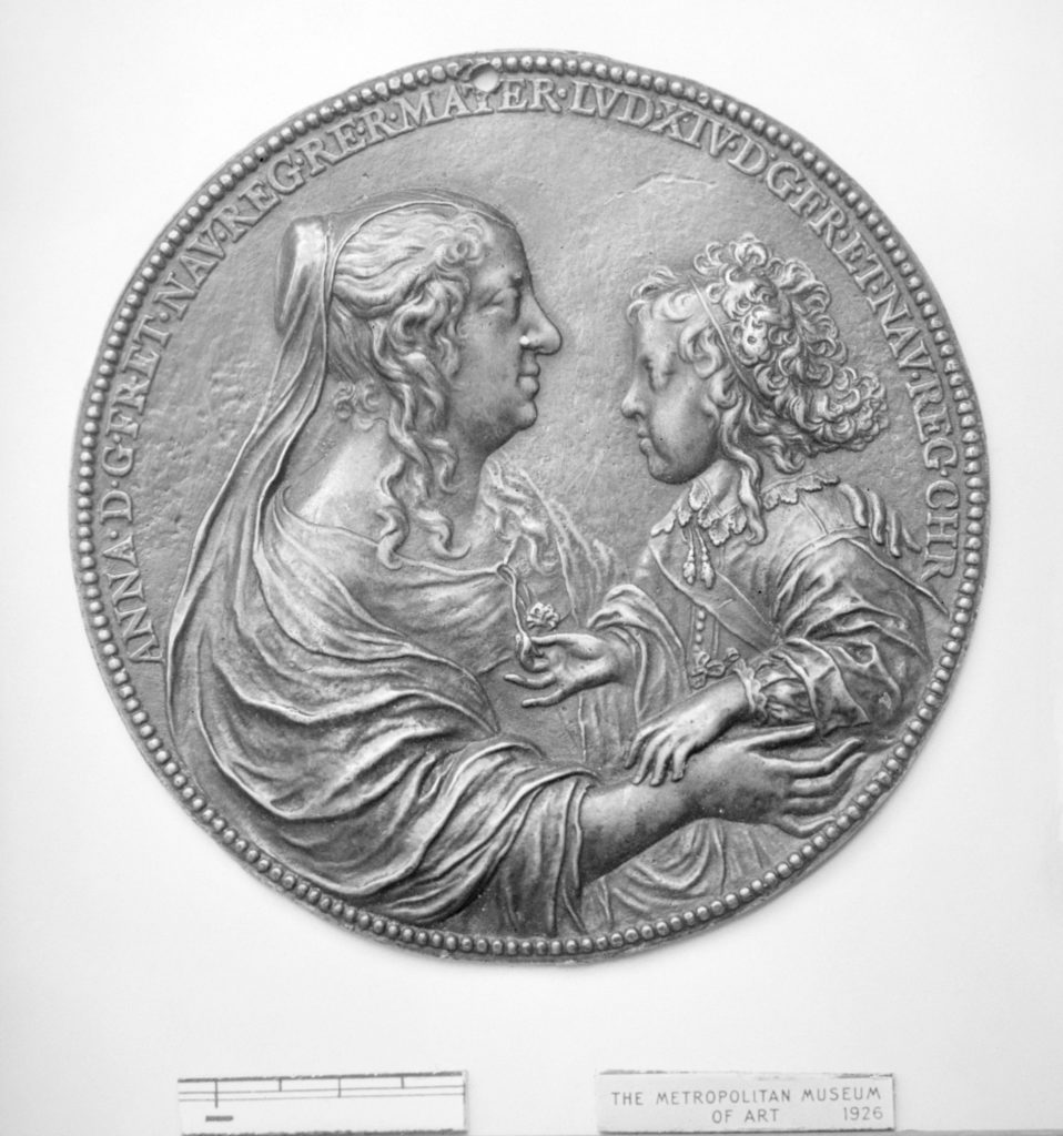 Anne of Austria, Queen Mother of France (1601–66) and her son Louis XIV (1638–1715)