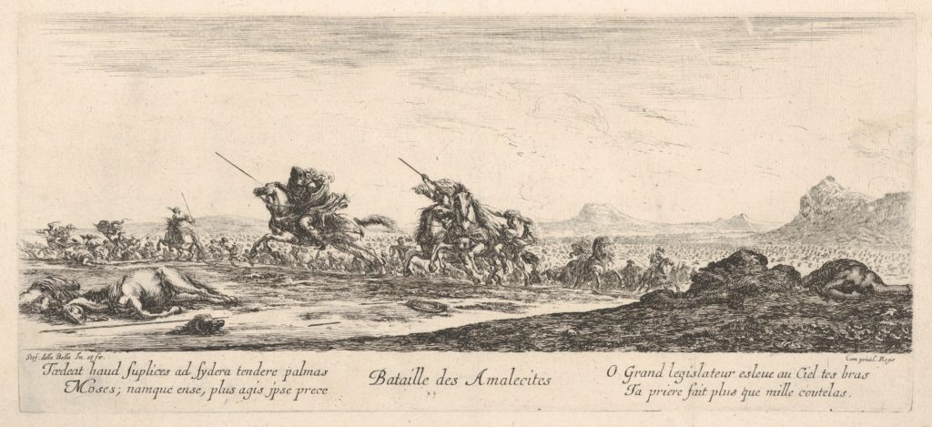 Battle of the Amalekites (Bataille des Amalecites), Amalekites on horseback gallop towards the left, pursued by the Israelites, a dead man to right, a dead horse to left