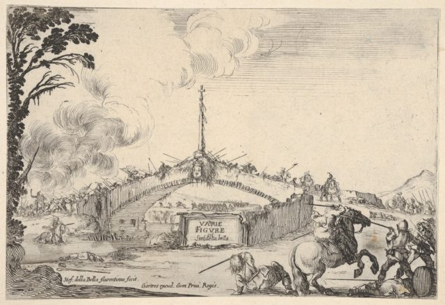 Combat on a bridge, a horseman and two footsoldiers battle with swords at bottom right, one footsoldier on the ground to left of the horseman, various soldiers with swords on the bridge in the background, French coat of arms displayed in center of bridge, title page of 'Varie figure'