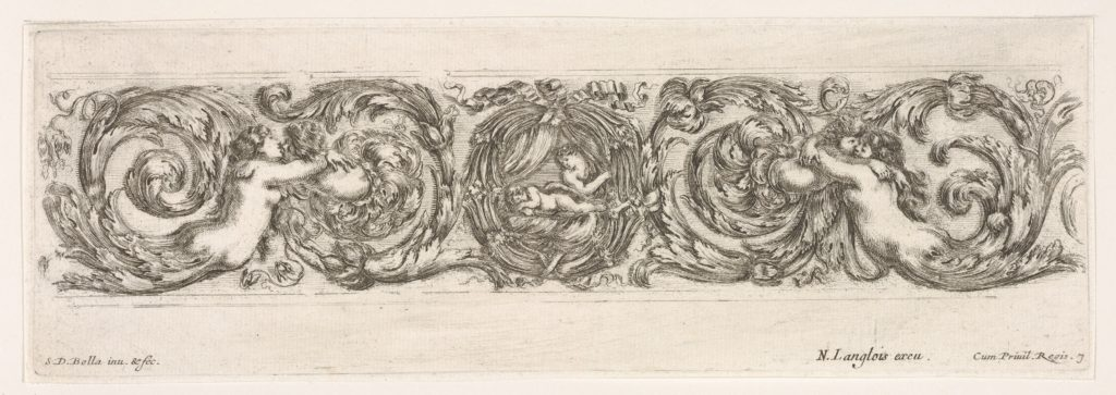 Design for a Frieze with Acanthus Scrolls with the Theme of Love, Plate 7 from: 'Decorative friezes and foliage' (Ornamenti di fregi e fogliami)
