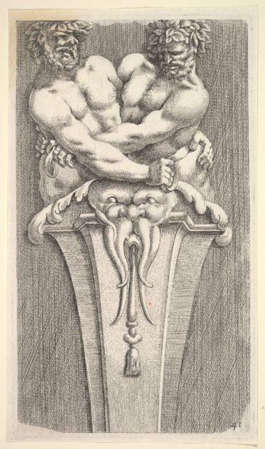 Design for a Term with Two Bacchic Figures, from: Curieuses recherches de plusieurs beaus morceaus d'ornemens antiques et modernes (...)