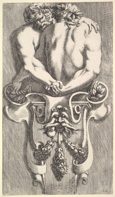 Design for a Term with Two Embracing Satyrs, from: Curieuses recherches de plusieurs beaus morceaus d'ornemens antiques et modernes (...)