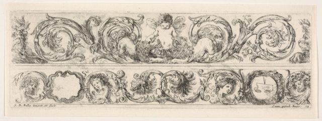 Design for Two Friezes, the One on Top containing a Zephyr flanked by Lions, Plate 14 from: 'Decorative friezes and foliage' (Ornamenti di fregi e fogliami)