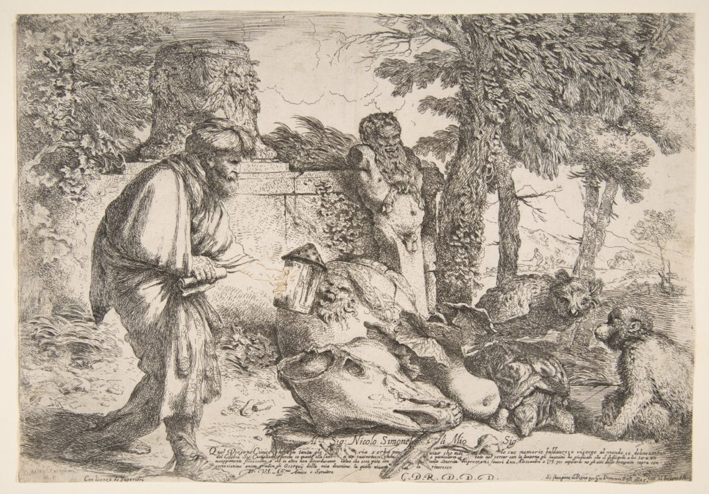 Diogenes searching for a honest man