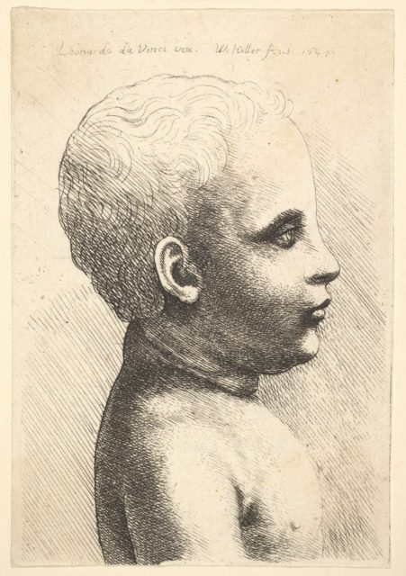 Head and shoulder of a child, in profile to right