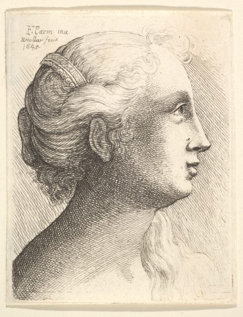 Head of a young woman in profile to right