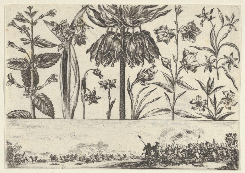 Horizontal Panel with a Row of Flowers Above a Frieze with a Battle Scene in a Landscape, from Livre Nouveau de Fleurs Tres-Util