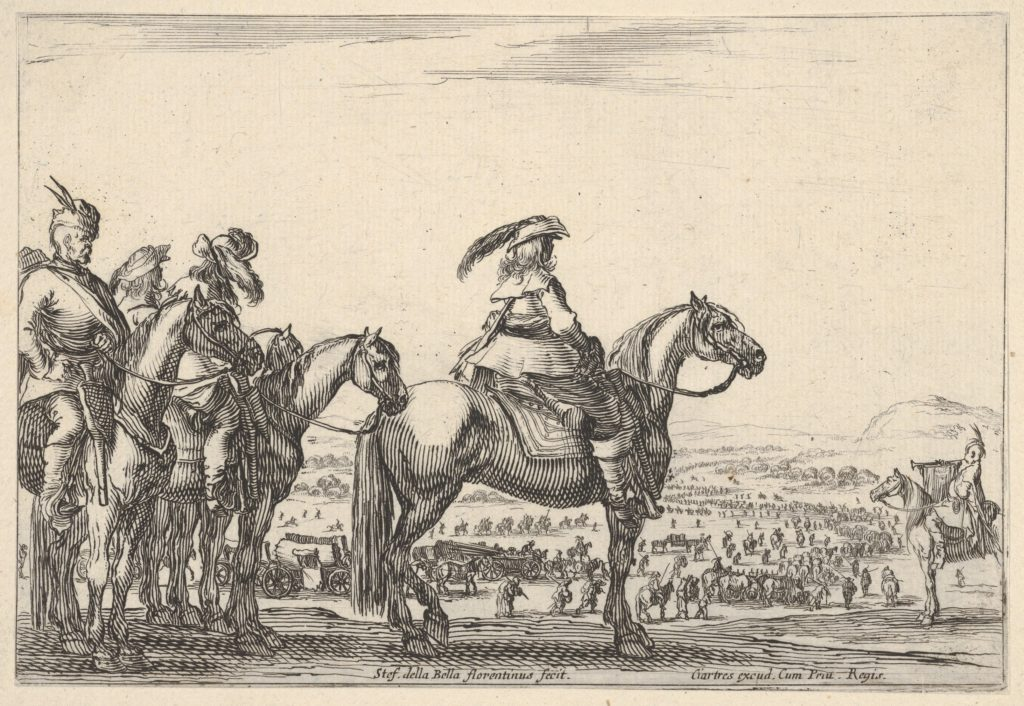 March of an army on a plain, the commander in chief in front, his aides behind him, a trumpeter on horseback at right, a plain with various figures and horses in the background, from 'Varie figure'