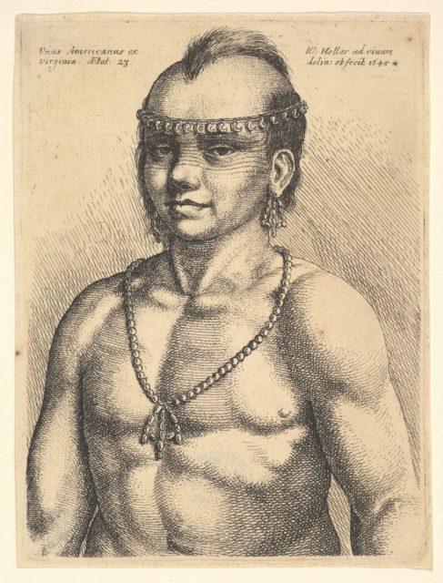 """Native American Indian, """"Unus Americanus ex Virginia"""""""