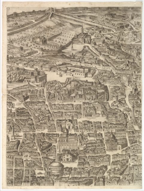 Plan of the City of Rome. Part 3 with the Santa Maria Maggiore, the Pantheon and Trajan's Column
