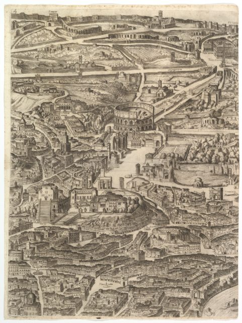Plan of the City of Rome. Part 4 with the Santa Maria in Aracoeli, the Forum Romanum, the Colosseum and the Lateran Palace.