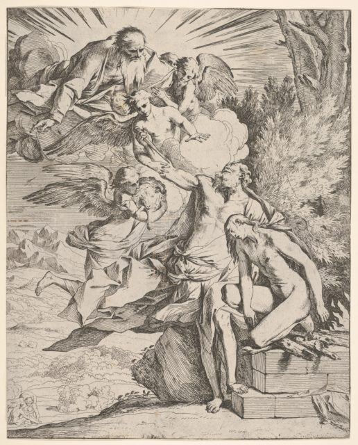 Sacrifice of Isaac: an angel presses against the dagger-bearing arm of Abraham, who stands next to Isaac on an altar, God the Father and an angel bearing a lamb approach from the left
