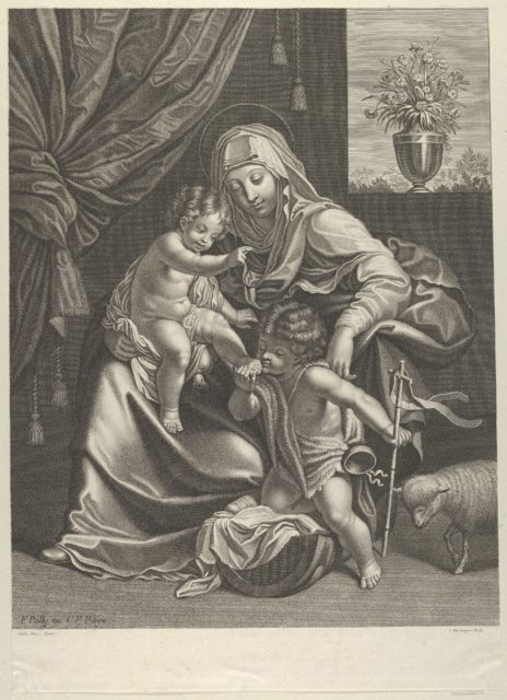 The Virgin seated with the infant Christ on her lap, the young Saint John the Baptist kneeling on Christ's cradle and kissing his foot, a lamb at right, after Reni