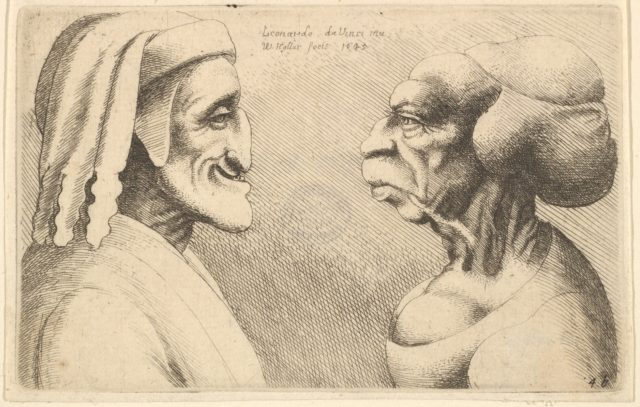 Two deformed heads (the figure on the left is possibly a caricature of Dante)