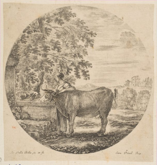 A peasant woman with a cow at a fountain decorated with the Medici arms, from 'Six animal subjects' (Six sujets d'animaux)