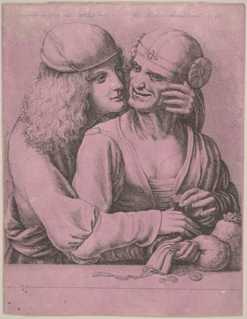 A young man caressing an old woman