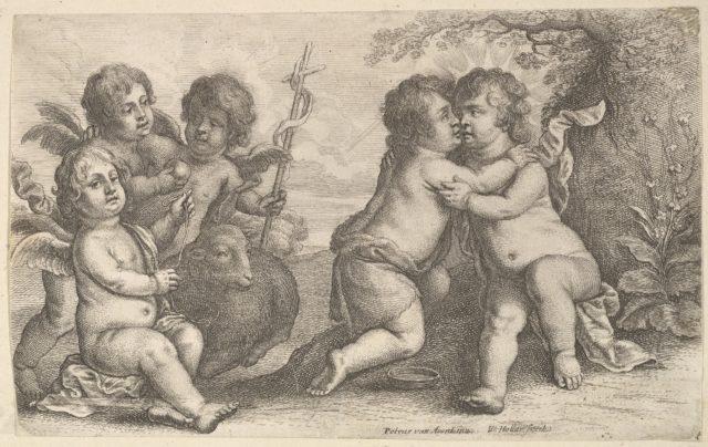 Jesus and St. John embracing, with Cherubs