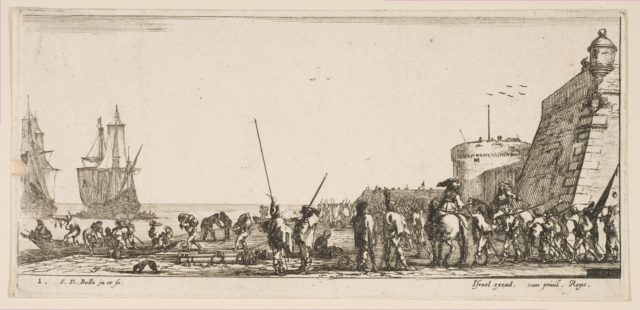 Plate 1: soldiers waiting to board a ship, from 'Various Embarkations' (Divers embarquements)