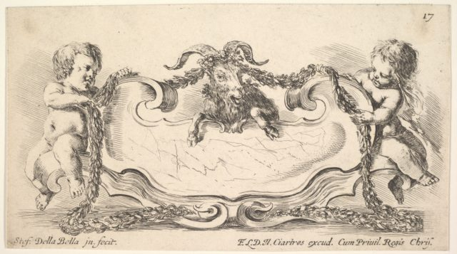 Plate 17: a cartouche with a marble center, an infant on either side holding a garland over the horns of a ram in center, from 'Collection of various caprices and new inventions of cards and ornaments' (Raccolta di varii cappriccii et nove inventioni di cartelle et ornamenti)