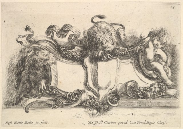 Plate 18: a cartouche containing an empty crest, two lionesses, one to left and one in center, an infant to right, from 'Collection of various caprices and new inventions of cards and ornaments' (Raccolta di varii cappriccii et nove inventioni di cartelle et ornamenti)