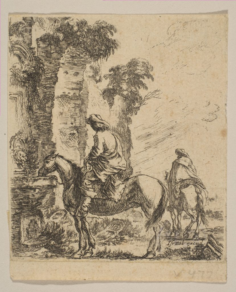 Plate 19: Landscape with a Cavalier Watering His Horse at a Fountain, from 'Various figures and doodles' (Diverses figures et griffonnemens)