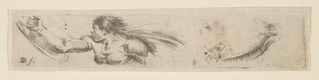 Plate 19: Torso of a Man with a Shield and Eye Study, from 'Collection of various doodles and etching proofs' (Recueil de divers griffonnements et preuves d'eauforte)