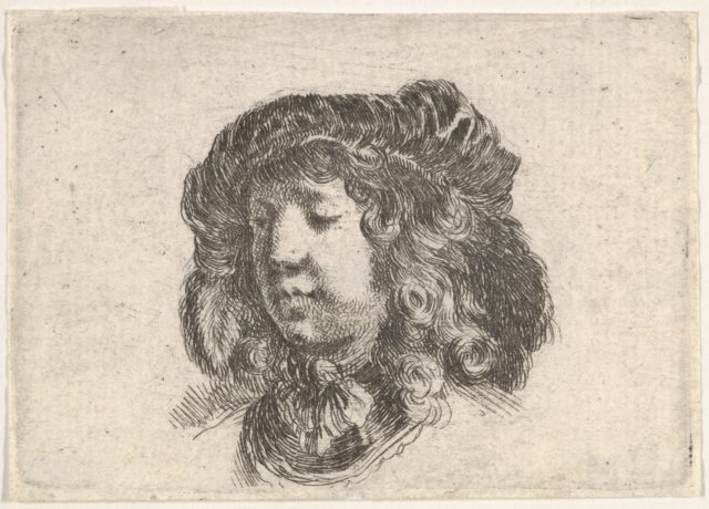 Plate 34: head of a young man in a cap adorned with a few feathers, turned three-quarters to the left, from 'Second collection of various doodles and etching proofs' (Second recueil de divers griffonnements et preuves d'eauforte)