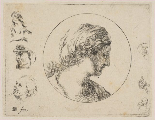 Plate 4: Head of a Woman in Profile, from 'Second collection of various doodles and etching proofs' (Second recueil de divers griffonnements et preuves d'eauforte)