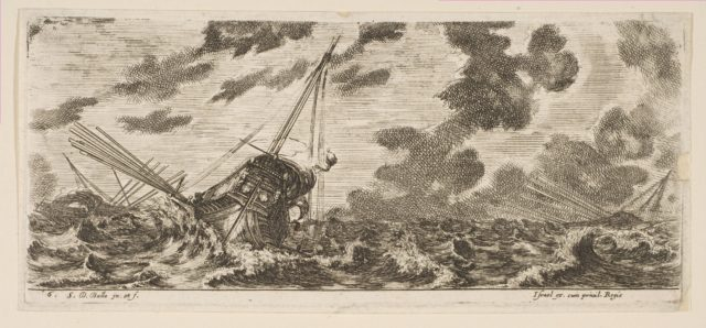 Plate 6: three ships in a storm, from 'Various Embarkations' (Divers embarquements)